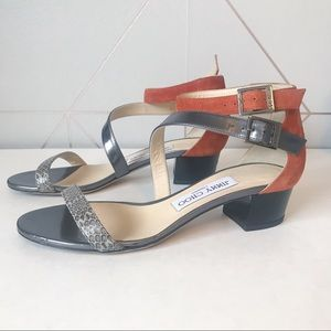 Jimmy Choo Block Heel Snakeskin Strappy Sandals